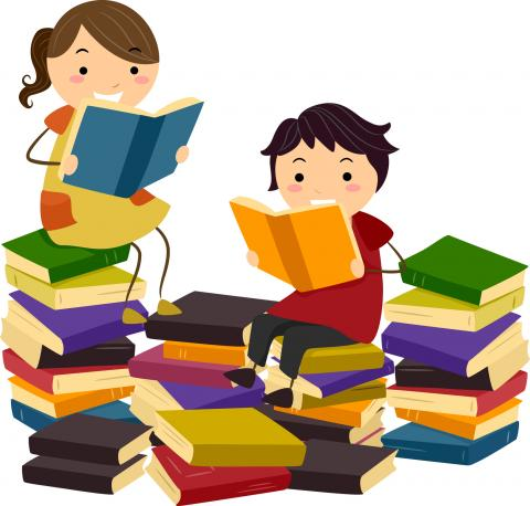 boys and girls reading book at library clipart